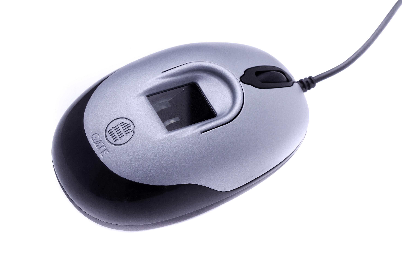 Биометрическая мышь серебро